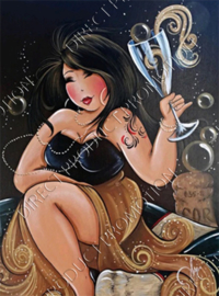 """Diamond painting """"Fat lady with champagne"""""""