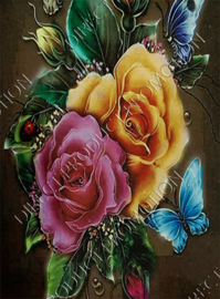 """Diamond painting """"Roses and butterflies"""""""