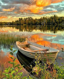 "Diamond painting ""Rowing boat on lake"""