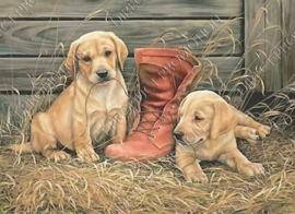 """Diamond painting """"Puppies play with boots"""""""