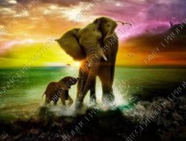 "Diamond painting ""Elephant and calf"""
