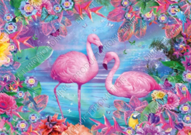 """Diamond painting """"Flamingos among flowers"""""""