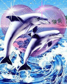 "Diamond painting ""Dolphins with heart"""