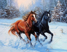 "Diamond painting ""Horses in the snow"""