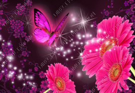 """Diamond painting """"Gerberas with butterfly"""""""