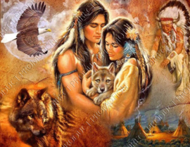 "Diamond painting ""Indians with wolves and eagle"""