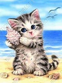 """Diamond painting """"Kitten on the beach"""""""