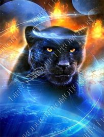 "Diamond painting ""Black panther and planets"""