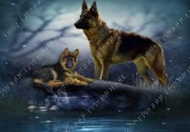 """Diamond painting """"German shepherd with puppy"""""""
