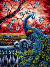 "Diamond painting ""Peacock on railing"""