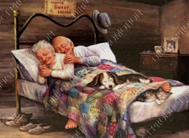 "Diamond painting ""Grandma and Grandpa in bed"""