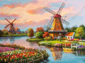 Diamond painting, Two mills Zaanse Schans