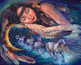 "Diamond painting ""Sleeping Indian girl with dream catcher"""