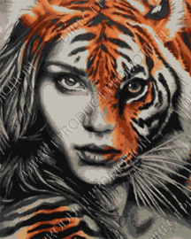 """Diamond painting """"Tiger girl"""""""