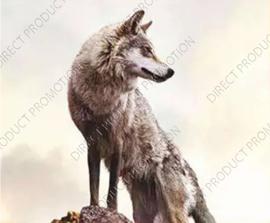 "Diamond painting ""Wolf on rock"""