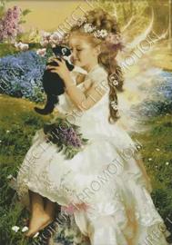 """Diamond painting """"Little angel with kitten"""""""