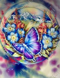"Diamond painting ""Colorful butterfly and flowers"""