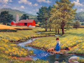 "Diamond painting ""Farm near stream"""