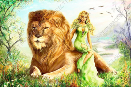 "Diamond painting ""Lion with woman"""