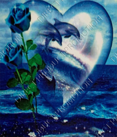 "Diamond painting ""Dolphins into heart"""