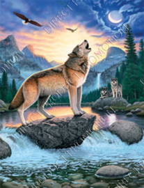 "Diamond painting ""Howling Wolf"""