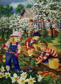 "Diamond painting ""Children in the vegetable garden"""