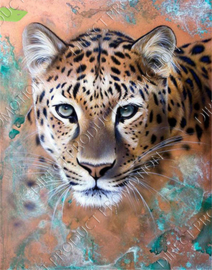 "Diamond painting ""Leopard on wall"""