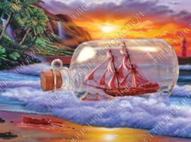 "Diamond painting ""Ship in bottle"""