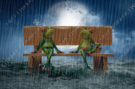 "Diamond painting ""Frogs in the rain"""