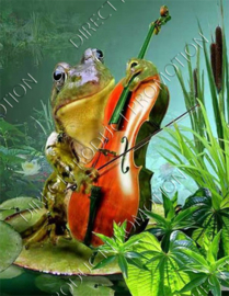 "Diamond painting ""Frog playing the violin"""