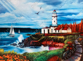 """Diamond painting """"Lighthouse and cottages"""""""
