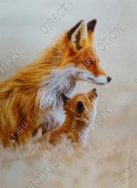"""Diamond painting """"Fox with cub"""""""