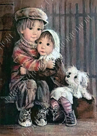 "Diamond painting ""Cuddling preschoolers"""