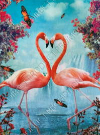 "Diamond painting ""Flamingo heart"""