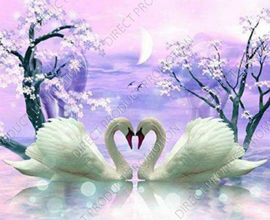 "Diamond painting ""Two white swans"""