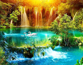 "Diamond painting ""Swans at waterfall"""