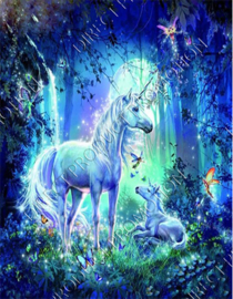 "Diamond painting ""Unicorns in the fairytale forest"""