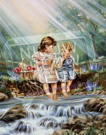 """Diamond painting """"Children at stream"""""""