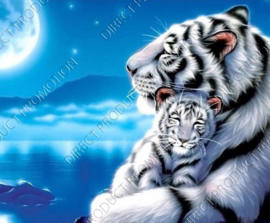 "Diamond painting ""White tiger with cub"""