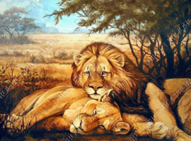 "Diamond painting ""Lion with lioness"""