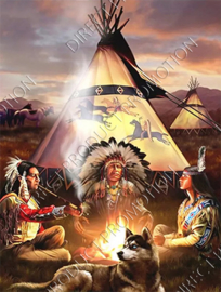 "Diamond painting ""Indians at tipi"""