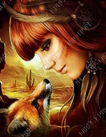 "Diamond painting ""Indian girl with fox"""