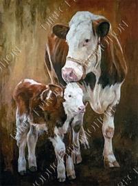 "Diamond painting ""Cow and calf"""