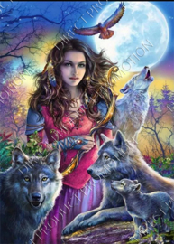 "Diamond painting ""Woman with wolves"""