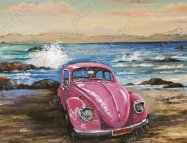 "Diamond painting ""Pink Volkswagen beetle"""