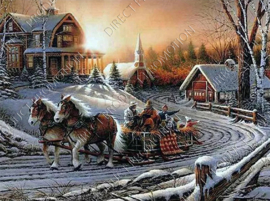 """Diamond painting """"Winter landscape with sled and horses"""""""