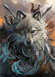 "Diamond painting ""Indians wolf"""