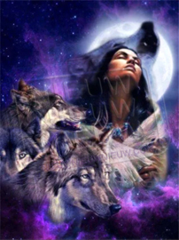 "Diamond painting ""Indian woman with wolves"""