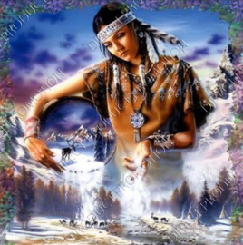 "Diamond painting ""Indian girl led it snow"""