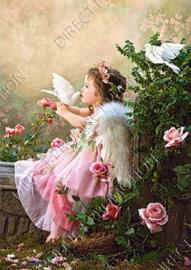 "Diamond painting ""Child with white pigeons"""